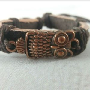 Jewelry - Unisex Adjustable Leather Cuff W/ Owl Charm